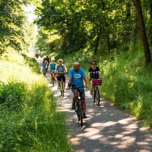 Rowerzyści na trasie rowerowej. Jada wśród bujnej zieleni. Letnia, słoneczna pogoda.